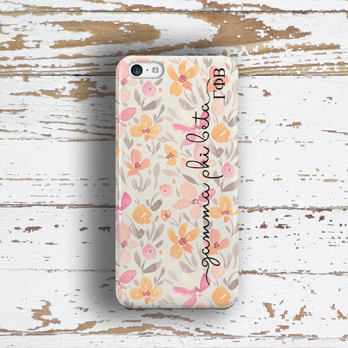 Gamma Phi Beta sorority - iPhone case with pink floral print - GFB