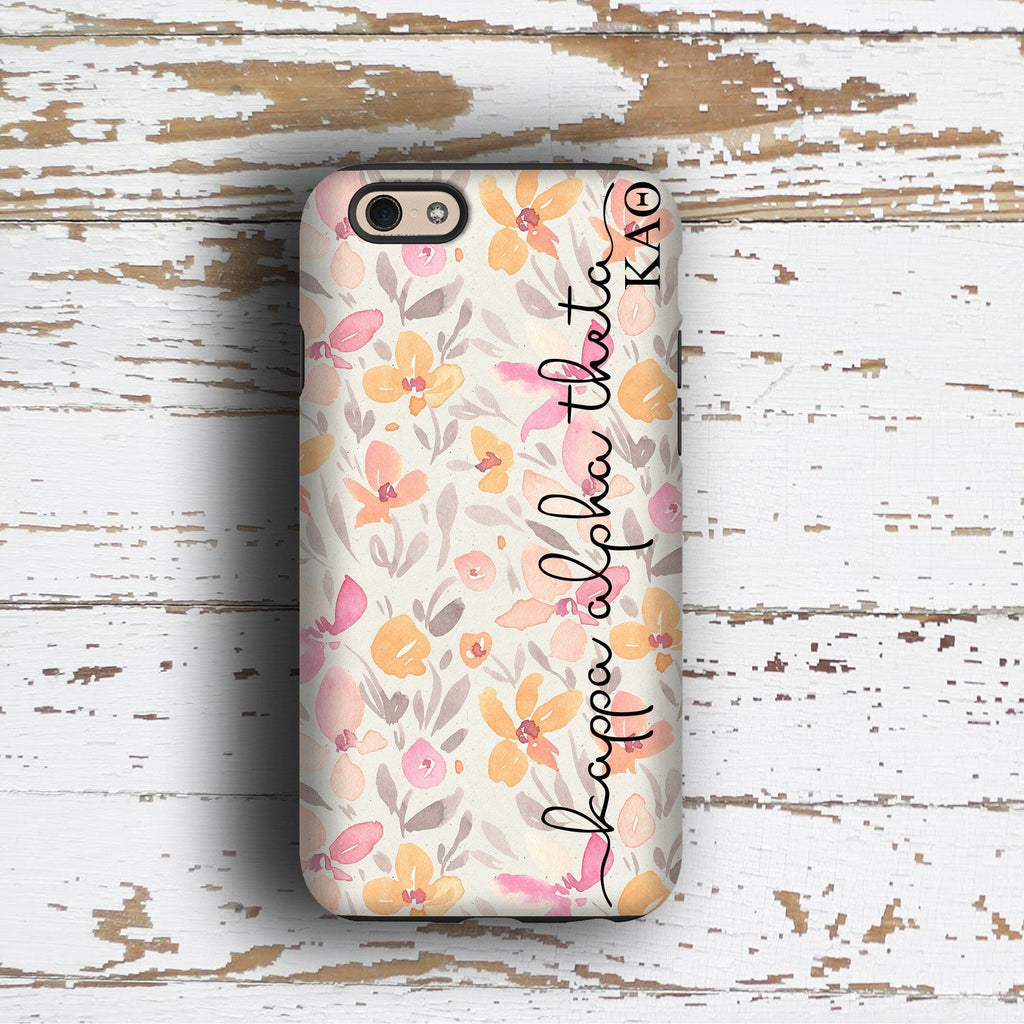 Kappa Alpha Theta sorority - iPhone case with pink floral print - KAO