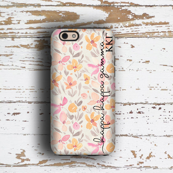 Kappa Kappa Gamma sorority - iPhone case with pink floral print - KKG
