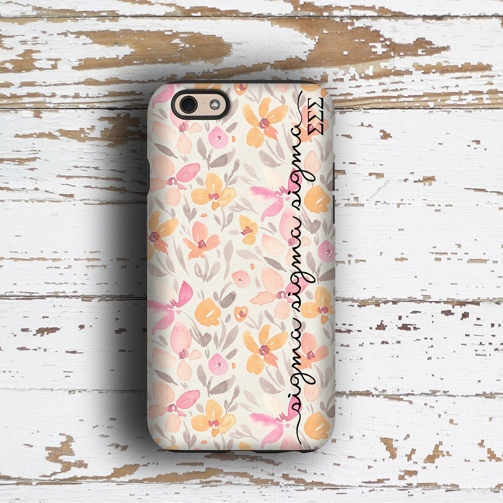 Sigma Sigma Sigma sorority - iPhone case with pink floral print - TriSig