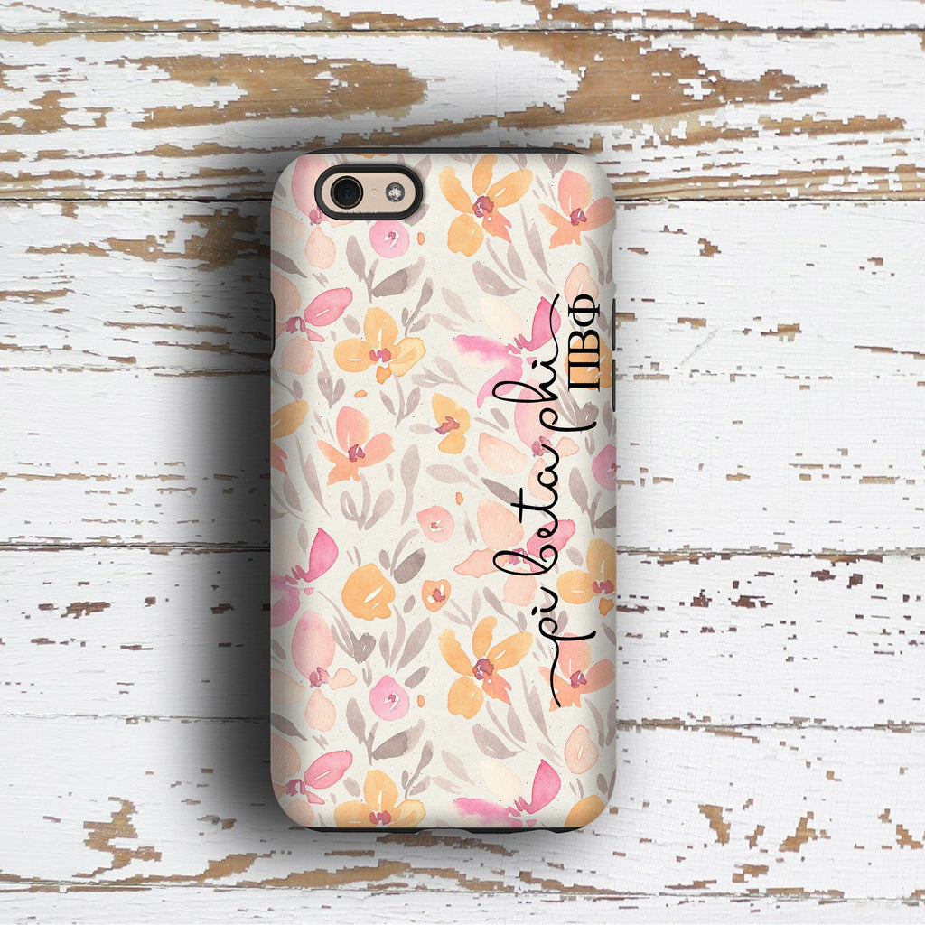 Pi Beta Phi sorority - iPhone case with pink floral print - PiPhi