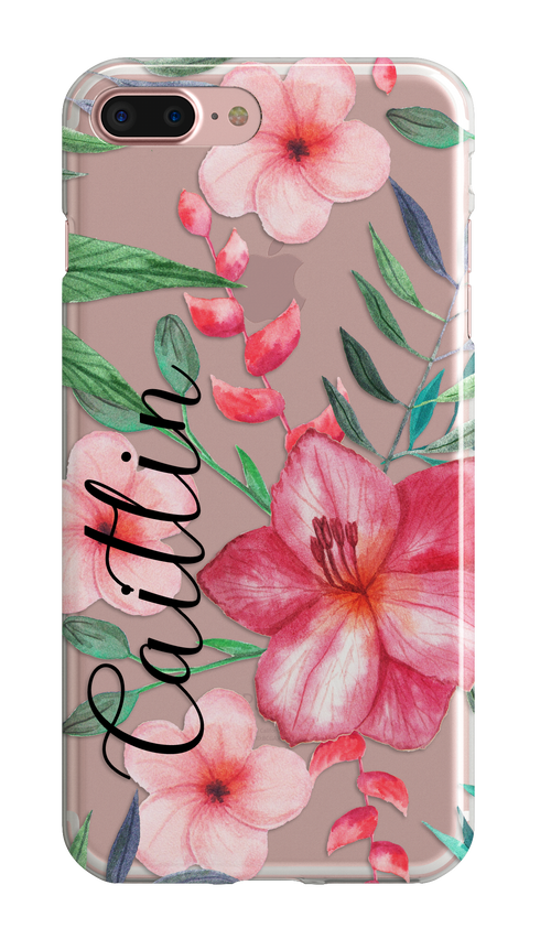 Tropical accessory iPhone case clear rubber bumpers  - Red gift For Her