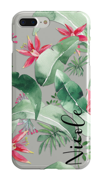 Tropical clear iPhone case with monogram - Red floral watercolor - Gift for women