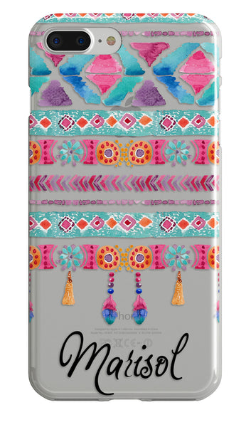 Tribal monogrammed clear iPhone case - Aztec watercolor - Gift for teen girls