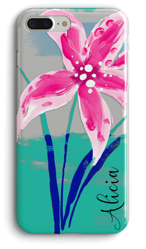 Tropical preppy personalized clear iPhone case - Lillies watercolor - Gift for girls