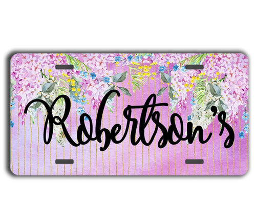 Floral monogrammed license plate - Purple flowers with faux glitter stripes