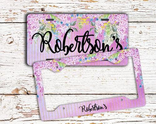 Floral monogrammed license plate and frame - Purple flowers with faux glitter stripes