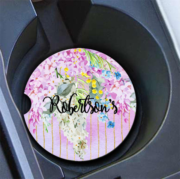 Floral monogrammed car coasters - Purple flowers with faux glitter stripes