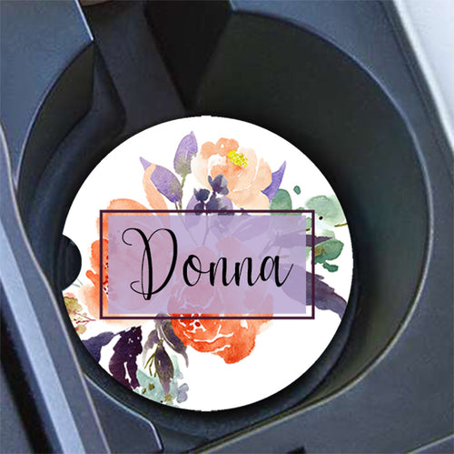 Monogrammed floral car cup holder coasters - Purple and orange - Custom Gift Set