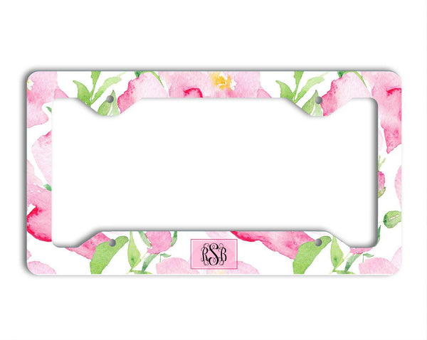 Girly front license plate frame - Soft pink flowers - Personalized gifts for her