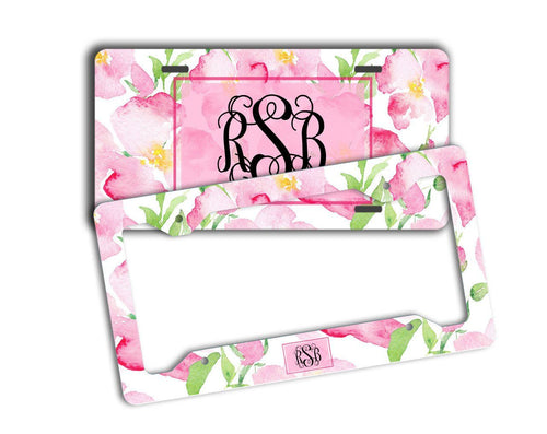 Girly front license plate and frame - Soft pink flowers - Personalized gifts for her