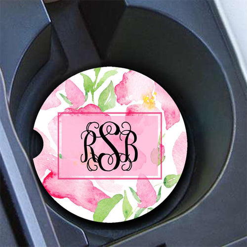 Girly car coasters  - Soft pink flowers - Personalized gifts for her