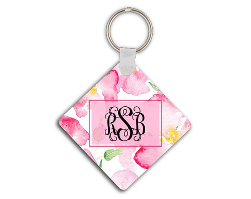 Girly monogrammed key chain - Soft pink flowers - Personalized gifts for her