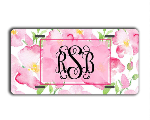 Girly front license plate - Soft pink flowers - Personalized gifts for her