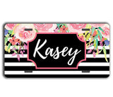 Custom front license plate - Black stripes with pink floral - Monogrammed gifts