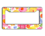 Monogrammed license plate frame - Exterior car decor - Pink yellow blue flowers