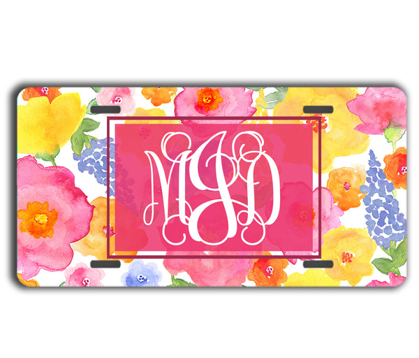 Monogrammed license plate - Exterior car decor - Pink yellow blue flowers