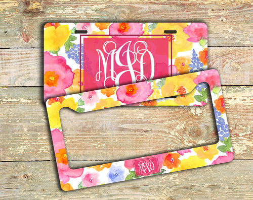 Monogrammed license plate and frame - Exterior car decor - Pink yellow blue flowers