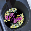 Faux pink foil letters  - Monogrammed car coasters - Black and purple car accessories