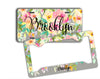 Personalized license plate or frame - Gray and pink floral - Pretty car decoration