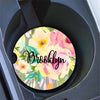 Personalized car cup holder coasters - Gray and pink floral - Pretty car decoration
