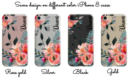 Floral iPhone case personalized, Pink flowers - Gift for women