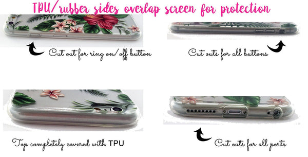Floral iPhone case personalized with clear back - Faux glitter stripes