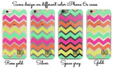 Chevron personalized clear iPhone case - Pastel colors - Gift for grand daughter