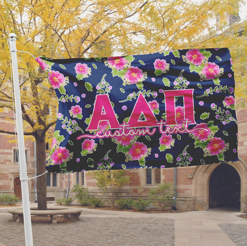 Alpha Delta Pi flag - Navy blue and pink floral print - Customizable