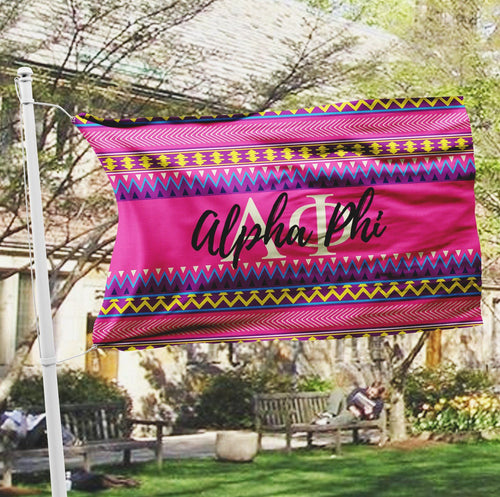 Alpha Phi sorority flag - Pink aztec print