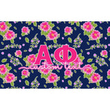 Alpha Phi flag - Navy blue and pink floral print - Customizable