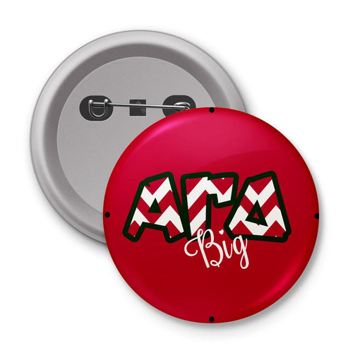 Alpha Gamma Delta pin - Cute chevron letters - Monogrammed pinback button, mirror or magnet