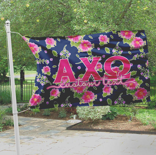 Alpha Chi Omega flag - Navy blue and pink floral print - Customizable