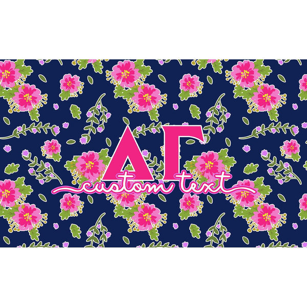 Delta Gamma flag - Navy blue and pink floral print - Customizable
