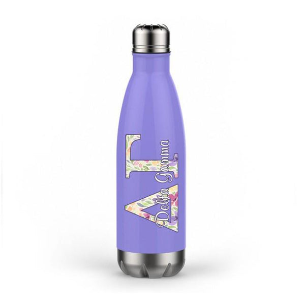 Delta Gamma sorority - Water bottle - Stainless Steel - Purple floral decal