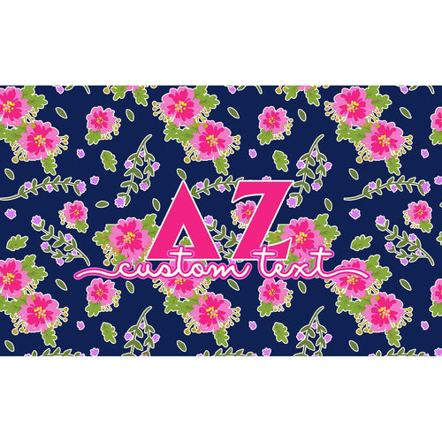 Delta Zeta flag - Navy blue and pink floral print - Customizable