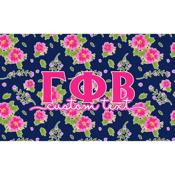 Gamma Phi Beta flag - Navy blue and pink floral print - Customizable