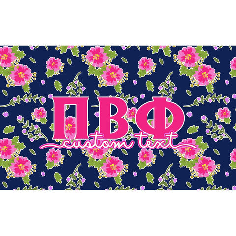 Pi Beta Phi flag - Navy blue and pink floral print - Customizable