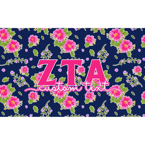 Zeta Tau Alpha flag - Navy blue and pink floral print - Customizable
