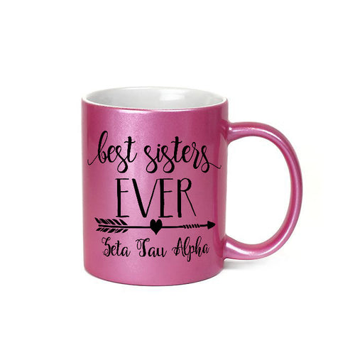 Zeta Tau Alpha sorority - Glittery pink metallic finish coffee mug - Best sisters EVER