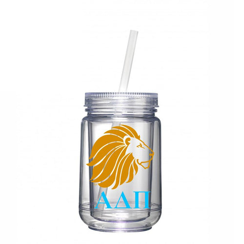 Alpha Delta Pi sorority - Clear tumbler with matching straw - Alphie sticker