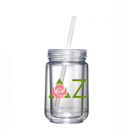 Delta Zeta sorority - Clear tumbler with matching straw - Pink and green rose logo