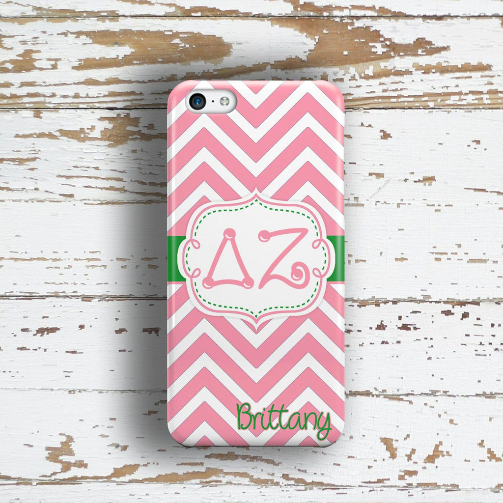 Delta Zeta - Thin pink chevron with green - DZ sorority Iphone case