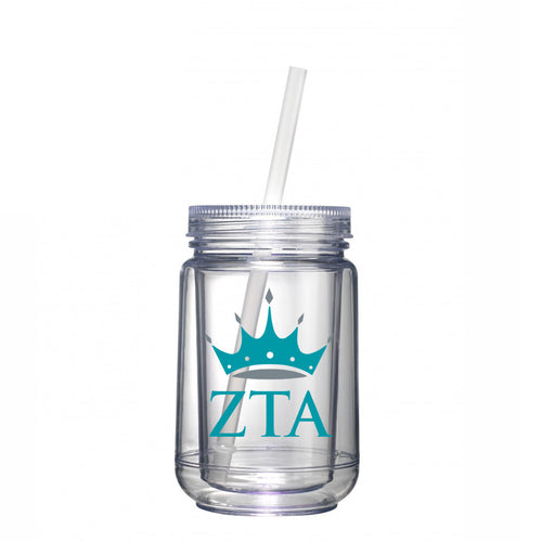Zeta Tau Alpha sorority - Clear tumbler with matching straw - Crown logo