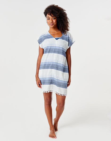 Tamiko Cover Up : Navy Sunrise Stripe