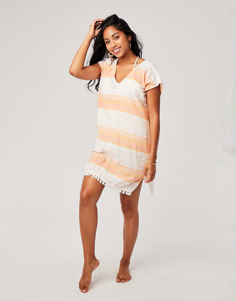 Tamiko Cover Up : Guava Sunrise Stripe