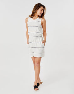 Camila Dress: Cloud Vintage Stripe