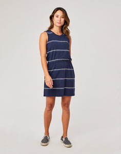 Camila Dress: Navy Vintage Stripe