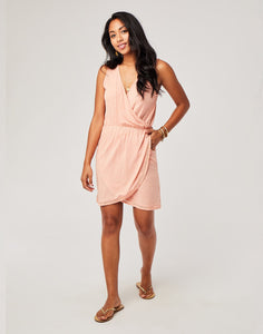 Kendall Dress : Guava Textured Stripe