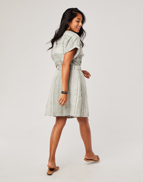 Willow Dress : Moss Stripe